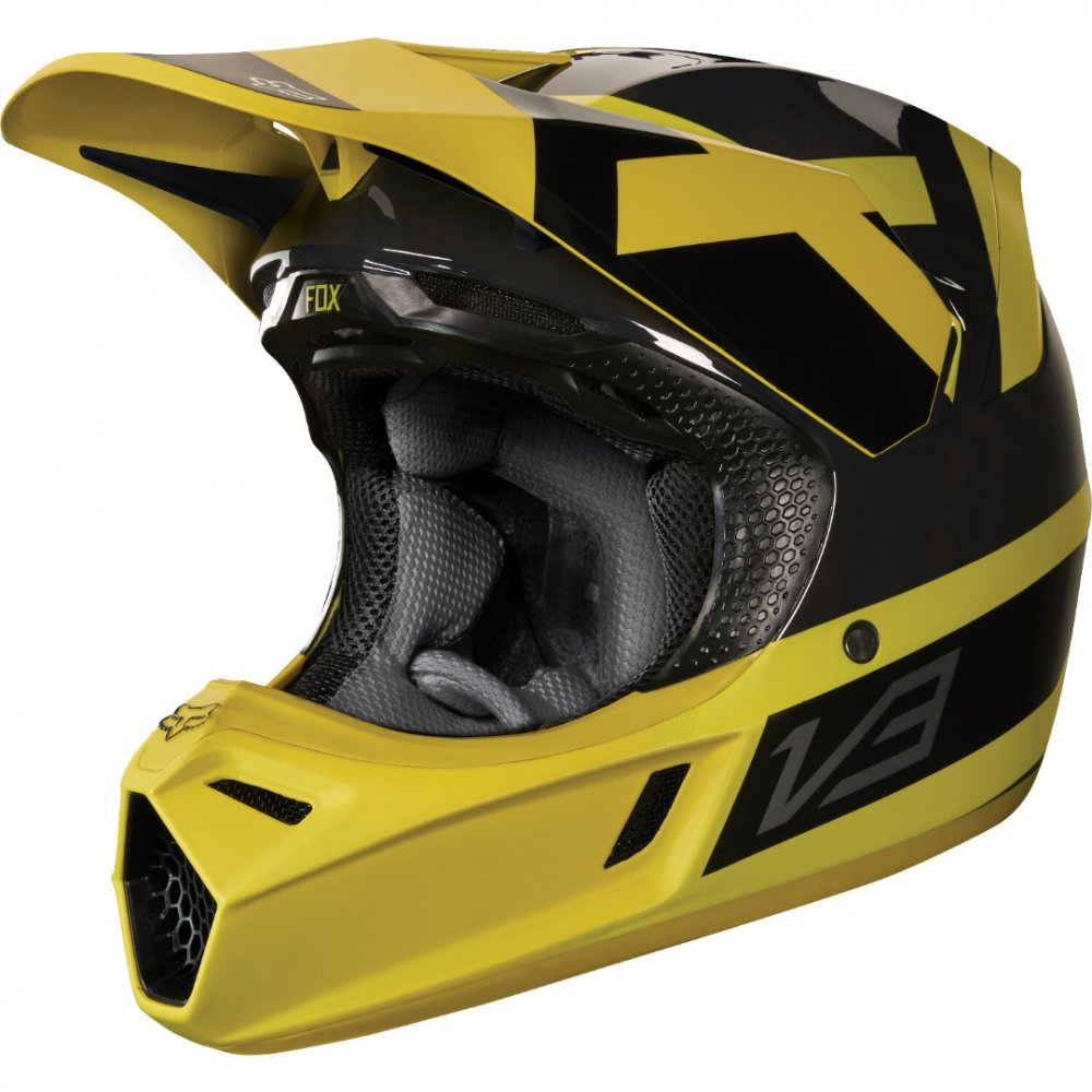 Fox V3 Preest Helm 2018 gelb